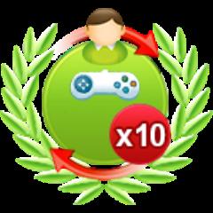 10 Einzelspiele gegen schwere Computergegner am Stück gewonnen