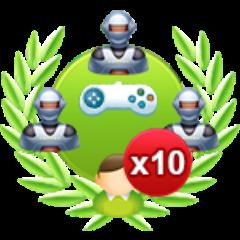 10 Einzelspiele gegen 3 schwere Computergegner gewonnen